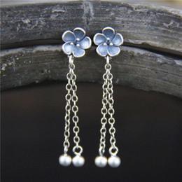 $enCountryForm.capitalKeyWord Australia - S925 pure silver Cherry Blossom Peach long Tassel Earrings