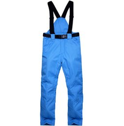 Chinese  New Winter Solid Warm Snow Snowboard Trousers With Shoulder Straps Waterproof Windbreak Colorful Women Man Outdoor Ski Pant manufacturers