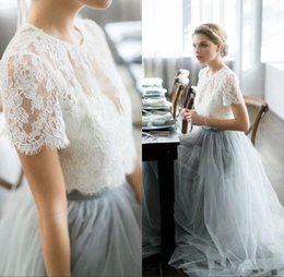 Vintage Bohemian Beach Wedding Dress Canada - Vintage 2018 Country Wedding Dresses Beach Bohemian Lace Tulle Bridal Gowns Sheer Neck Short Sleeves dusty blue Colored Wedding Gowns