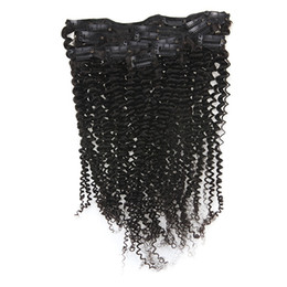 $enCountryForm.capitalKeyWord UK - Mongolian Kinky Curly Clip ins 120g Set Virgin Hair Clip in Human Hair Extensions Curly Natural Color