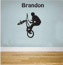 personalised nursery wall stickers NZ - Free shipping Cool Personalised Name BMX STUNT Removable Wall Sticker for Nursery Kids Bedroom Boys Home Decor Mural -you choose name& color