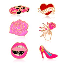 Discount cute girls high heels shoes - Cartoon Cute Love Mom Heart Car Rose flower brooch Red Lip High Heel Shoe Metal Brooches Pins Button Pins Girl Gift drop