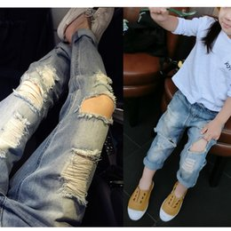 jeans for baby girls Canada - Casual Ripped Jeans For 2~6 Yrs Comfy Baby Girl Causal Jeans for Boys Kids Long Trousers Brand Children Clothing Kids Jeans