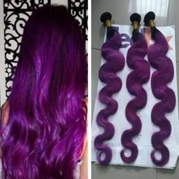 brazilian virgin hair ombre purple 2019 - Brazilian Ombre Human Hair Extensions #1B Purple Dark Roots Two Tone Hair Weaves Body Wave Wavy Virgin Hair Wefts 3 Bund
