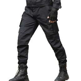 swat trousers NZ - Men's Cargo Pants Tactical SWAT Army Military Pants Soldier Paintball Combat Male Casual Many Pockets Work Thin Black Trousers