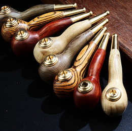 smoking wood pipes carve NZ - Wood Smoking Pipe Tobacco Pipe Solid Wood Filter Pipe Carved Filver Creative Gift for Men Multi Color