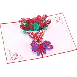 post card envelope wholesale Australia - laser 3D paper pop up Art Painting weding card with blank envelope invitations greeting cards wedding invitation