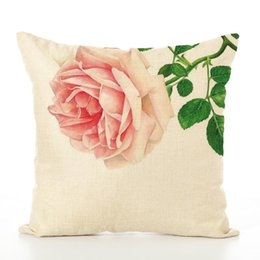 $enCountryForm.capitalKeyWord UK - New product linen cut cushion cover square pillow case linen cloth natural healthy safe digit printing bright color painting rose lily decor