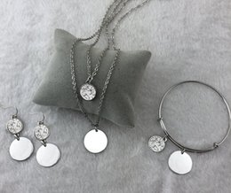 Brass Stock NZ - Fashion Hot sale personalized Monogram Druzy disc necklace set in stock