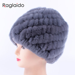 6c24333bbaa22 Raglaido Rabbit fur hat Women Russian Real Fur Knitted Cap Nice Winter Warm Beanie  Hat 2018fashion brand Raglaido skulls LQ11279 S1020