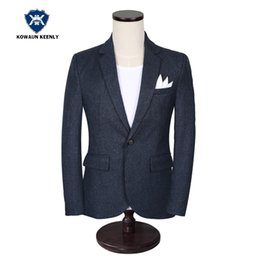 wedding casual blazers for men 2019 - Stylish Men's Casual Slim Fit One Button Suit Jacket Classic Business Formal Blazer for Men Navy Blue Wedding Blazer Dre