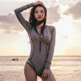 cb9341ecbe981 One Piece Vintage Swimwear Long Sleeve Bathing Suit rush guard bikini women  sexy swimsuit snorkeling wear suit korean style