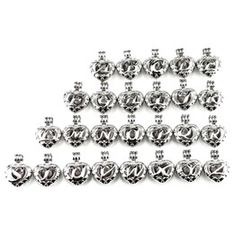 name beads wholesale NZ - Silver 26 Alphabet Letter Heart Beads Pearl Cage Locket Pendant Aroma Essential Oil Diffuser Charms Sweet Name Gift