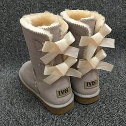 Gold chain print fabric online shopping - New Fashion Ugs Women Snow Boots Bow Back Decoration Australian Style Cow Suede Leather Winter Lady Outdoor Boots Brand Ivg