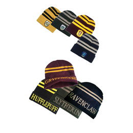 Slytherin Gryffindor Ravenclaw Hufflepuff Hat Cosplay Costume Stripes Knit  Hat Costumes Halloween Gift For Kid And Adult 378bce12da9b