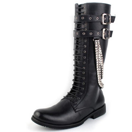 9f0f082bbb4 Men s boots winter fashion High boots metal Chain men long Lace-Up leather  Korean version trend flat Martin boots