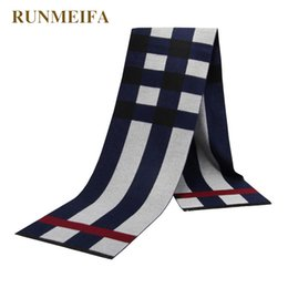 Cotton Viscose Scarves Australia - [RUNMEIFA] 2017 new brand Men's cotton and viscose scarf warm and thickly extended men's striped plaid scarf in winter