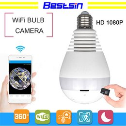Lighting monitor online shopping - Light P P WiFi Panoramic bulb security cameras Home Security camera system wireless IP D Fish Eye monitor light Bulb camera