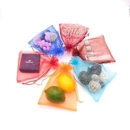 Organza vOile gift packaging bags online shopping - 200pcs Solid Multi Color Organza Jewelry Bags Luxury Wedding Voile Gift Bag Drawstring Jewelry Packaging Christmas Gift Pouch cm