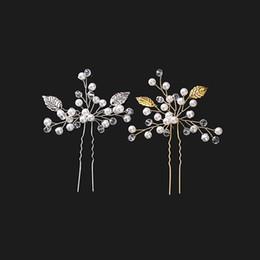 $enCountryForm.capitalKeyWord Australia - Silver Gold Leaves Handmade Bridal Hairpins Pearls Crystal Wedding Accessories For Bride Vintage Pin U clamp Wedding Headpieces Updo