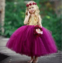 ankle length dresses for girls NZ - Beautiful Pageant Dresses For Girls 2018 Gold Sequined Fuchsia Tulle Ball Gown Ankle Length Flower Girls Dresses For Weddings EN12211