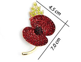 Crystal Poppy Wholesale Australia - DreamBell Hot Sales 2018 Hot Sale High Quality Crystal Brooch Red Crystal Poppy Alloy Brooch With Elements for women