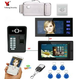 """Discount doorbell intercom system wireless - Yobang Security 7"""" 2 Monitors Wired  Wireless Wifi Video Door Phone Doorbell Intercom System with Fingerprint RFID"""