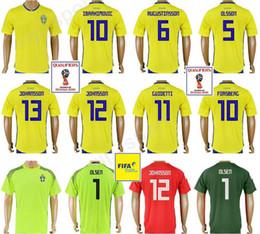 3a74f4dde Thai Custom 10 IBRAHIMOVIC Jersey Football Shirt Kits 2018 World Cup Sweden  Soccer Jerseys Home Yellow Red Quality 9 BERG 7 LARSSON 5 OLSSON