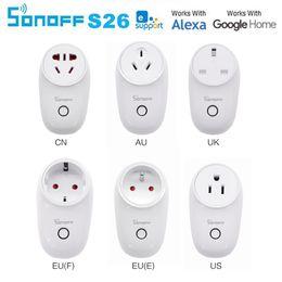 Toptan satış Sonoff S26 WiFi Akıllı Soket ABD / İNGILTERE / CN / AU / AB Kablosuz Fiş Güç Soketleri Akıllı Ev Anahtarı Alexa Google Asistan IFTTT Ile Çalışmak