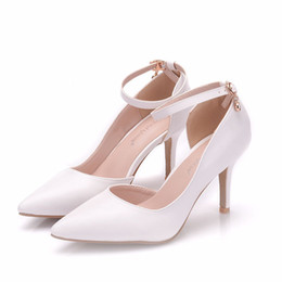 Thick White Wedding Shoes Australia - New Summer elegant pointed toe shoes for women White simple style high heel wedding shoes thick heels sexy Plus Size working Shoes