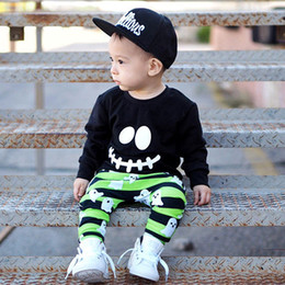 face leggings NZ - Hot Newborn Boys Smile Face T-shirt Tops+Goblin Long Pants Leggings Outfits baby Halloween Clothing Set Cotton Long Sleeve Smile Face Sets