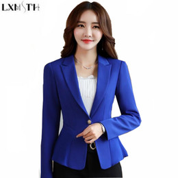 long formal suit jacket for women Canada - LXMSTH 2018 Spring New Korean Formal Suit Coat jacket White Collar Slim Ruffles Work Blazer For Women Office Blazers Female 4XL