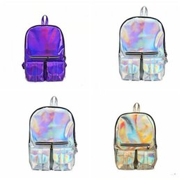 $enCountryForm.capitalKeyWord Canada - Bags Fashion Double Pocket Handbag Hologram Laser Backpack Women Men Travel Backpack School Bags For Girls Boys Book Bag Free Shipping