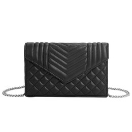 China Plaid Embossed Lady Messenger Bags Elegant Envelop Clutch Purse Wallet Small Crossbody Chain Bag cheap black envelop suppliers