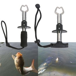 fishing grabber gripper grip UK - 16x6cm Fish Lip Gripper Grabber Portable Fishing Grip Fish holder with Weight Scale Ruler Fishing Gear Stainll