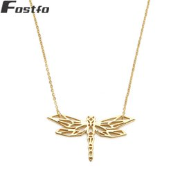 Discount long dragonfly necklace - Fostfo 2018 Trendy Animal Dragonfly Pendant Necklaces For Women Gold Color Long Copper Chain Statement Necklace Jewelry