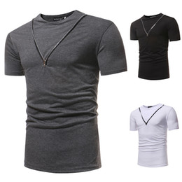 Wholesale short sleeve personalized t online – design Summer Men Personalized zipper T Shirts New Brands Fashion Shirts Clothes Short Sleeve New Tee Shirt Cotton Casual Shirts Man Clothing
