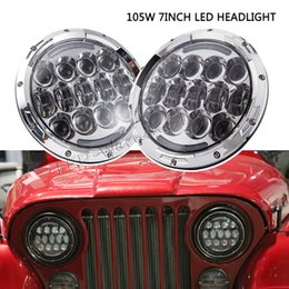 halo headlamps UK - Pair 7inch round headlight 105w dual sealed beam with halo ring led headlight replacement,full set with H4 to H13 connectors led headlamp
