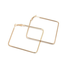Wholesale personality fashion simple design elegant girl metal Square sexy Big Hoop Earring Women jewelry