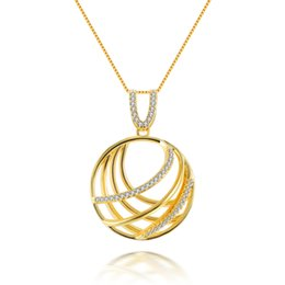 only jewelry 2019 - Luxurious Circle Shape Cubic Zirconia 925 Sterling Silver Yellow Gold Plated Women Only Pendants Jewelry Anniversary Gif