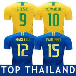 17eb9d597 TOP Thailand 2018 World Cup Brazil Home Soccer Jersey Brasil  10 NEYMAR JR  Football Shirt  11 COUTINHO  9 G.JESUS Brazil Yellow Football Uni