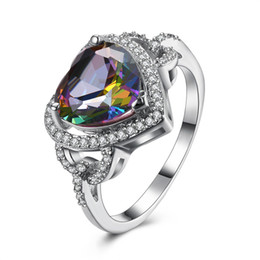 Mystic rings online shopping - 2018 Hot sale Jewelry Cut heart shaped Mystic Rainbow topaz Cubic Zirconia Platinum Plated Rings Size R0175