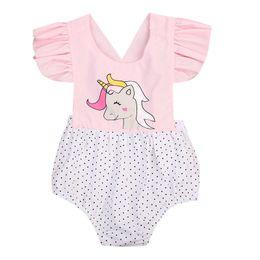 $enCountryForm.capitalKeyWord UK - Newborn Baby Girls Floral Unicorn Romper Jumpsuit Outfits Sunsuit Children Toddler Girl Flower Cute Print Summer Rompers 0-2T