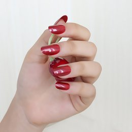 Sexy Finger Nails NZ - 24pcs new fashion cute candy oval excellent touch design fake nails Sexy red 1030X