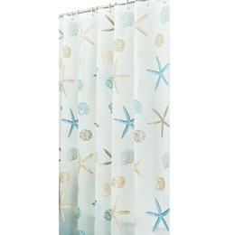 China New Beac Shell Bathroom Waterproof Mildew Proof Shower Curtain With 12pcs Curtain Hooks Rings 180cm*180 200cm cheap shell curtains suppliers