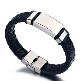 $enCountryForm.capitalKeyWord NZ - Punk Wide Men Bracelet Stainless Steel Cuff Bangle Silver Hand Black Silicon Wristband Steel Weave Leather Bracelets pulsera