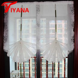 $enCountryForm.capitalKeyWord Australia - Tiyana Lift White Embroidered Roman Curtain Sheers for Kitchen Bay Window Solid Color Modern Balloon Door Curtains Tulle H023D30