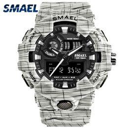 $enCountryForm.capitalKeyWord Australia - SMAEL Sport Watch Fashionable White Men Watches Dual Time Digital LED Wristwatches 8001 Watcn Men Waterproof Men Watches