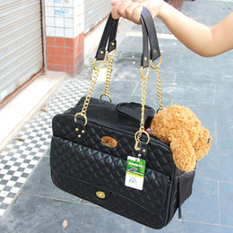 Pet Carrier Portable Travel Carry Bags Faux Leather Mesh Breathable Cat Dog Bag Handbag Carrying Bags for Dogs 40*18*27CM black on Sale