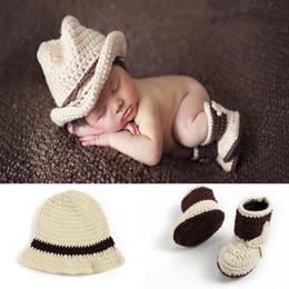 $enCountryForm.capitalKeyWord Australia - New born Baby Boy Cowboy Style Handmade Crochet Photography Outfits Props Baby Beanies Photo Shoot Props Costume